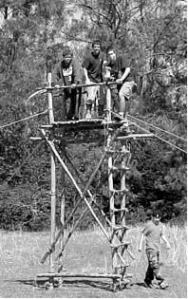 "This signal tower went up on a camping trip in March of 2000 in a large grassy field. The operation took a little over two hours. PHASE 1: Before we started, a well-muscled sledge hammer crew, made up of Jason Hardee, Theodore Fontana, Cory Keibler, Kurt Lester, and Will Hall, took turns pounding in 24 three-foot pioneering stakes to make up the four ""1-1-1"" anchors needed to tie the tower down. PHASE 2: A crew assembled the 2 fourteen foot ladders. (All Scout campers tied at least one of the fifty square lashings required to put together the completed project.) PHASE 3: Another crew held the ladders in position while they were lashed together. Thanks to Jason for his diagonal lashings, and Theodore and Hiram for their help in lashing down the floor spars making up the platform. PHASE 4: The tower is hoisted with Scouts manning each corner guyline and the rope used to make sure the tower isn't pulled too far before it's secured. Thanks to Michael O'Neil who was in charge of tightening the guylines using the rope tackles at each of the anchors"