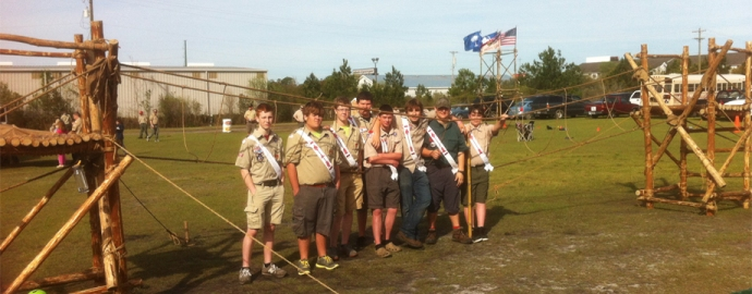 Chicora Chapter, Santee Lodge 116 Pioneering Crew after completing the construction of a Double Platform Monkey Bridge