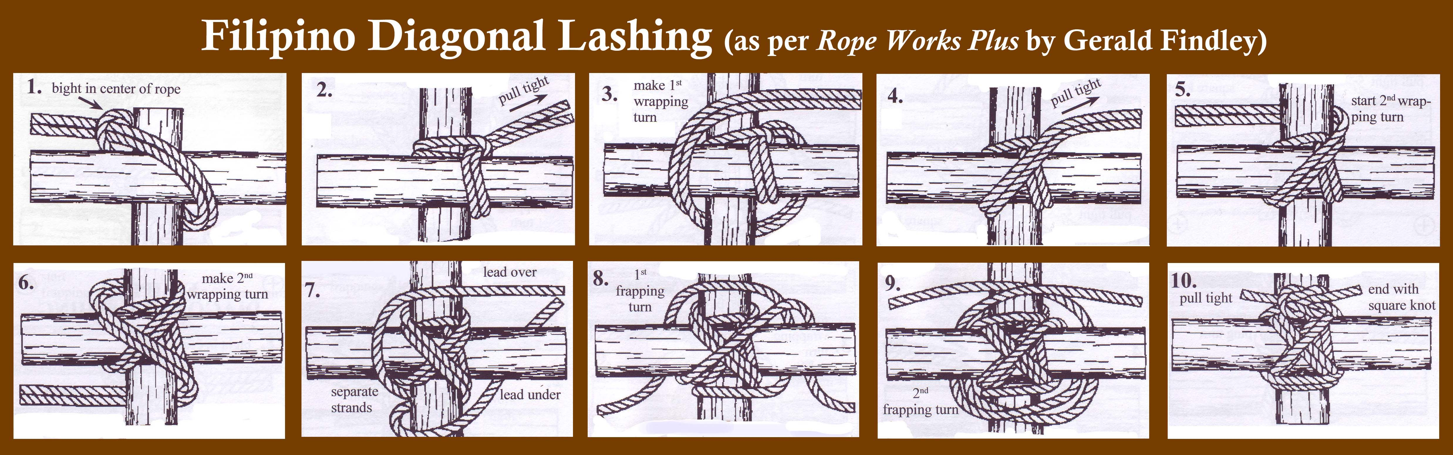 filipino diagonal lashing diagonal lashing scout pioneering