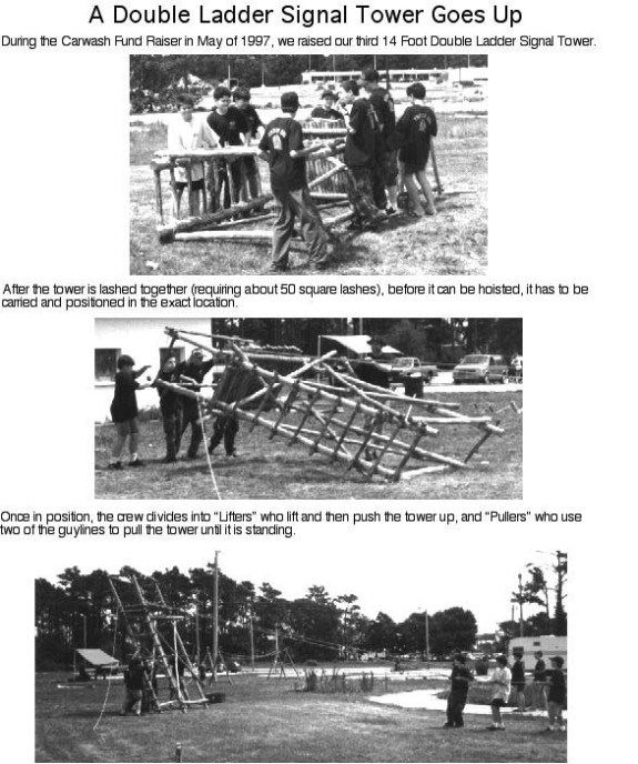 During the Carwash Fundraiser in May of 1997, we raised our third 14 foot Double Ladder Signal Tower. After the tower is lashed together, requiring 50 square lashings, before it can be hoisted, it has to be carried and positioned in the exact location. Once in position, the crew divides into :lifters