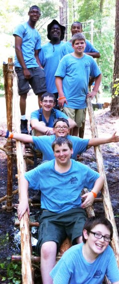 Pioneering Merit Badge Class on their Single Trestle Bridge
