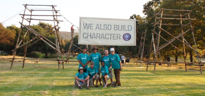 These projects are all built by troops in the Northern District in Gauteng, South Africa. This district holds regular inter-troop Pioneering competitions, as well as a Scouter's competition. The above photo shows the winning Scouters from 2008, 1st Athol, in front of their 35ft-span suspension bridge, built in 4.5 hours.