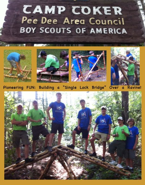 Camp Coker Pee Dee Area Council Boy Scouts of America, Pioneering Fun: building a single lock bridge over a ravine.