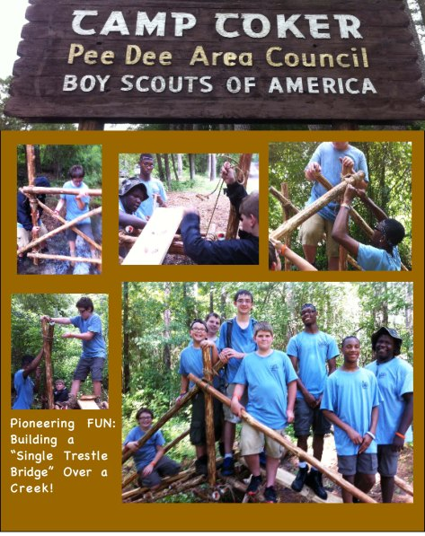 Camp Coker Pee Dee Area Council Boy Scouts of America. Pioneering FUN: building a single trestle bridge over a shallow creek.