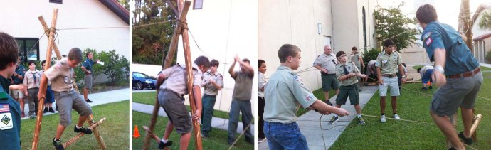 Great Team Working Challenge! Each Scout handling a guyline needs to be vigilant!