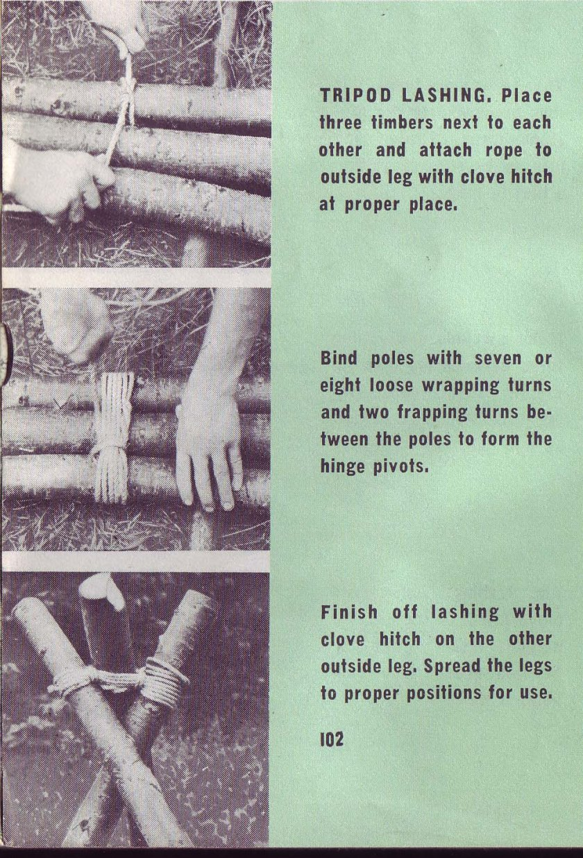 Tripod Lashing: Place three timbers next to each other, butt ends at the bottom, and attach a lashing rope to an outside leg with a clove hitch at the proper position. Bind the spars together with seven or eight loose wrapping turns and two frapping turns between the poles to form the hinge pivots. Finish off the lashing with a clove hitch on the other outside leg. Spread the legs to their proper positions for use.