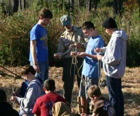 Butterfly Knot Instruction at a Camporee