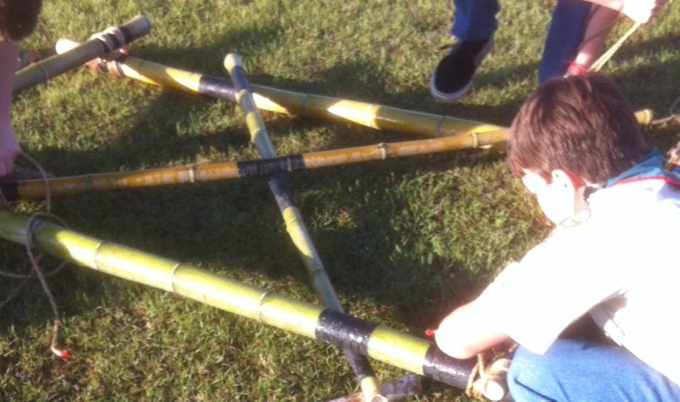 Lashing together a Trestle from Bamboo Spars