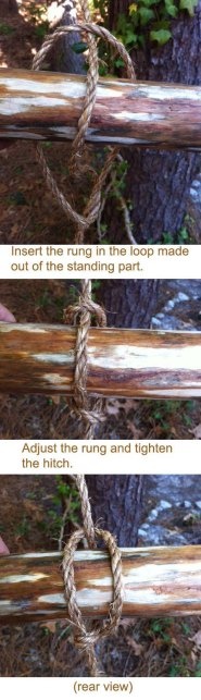 Insert the rung in the loop made out of the standing part. Adjust the rung and tighten the hitch.