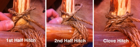 Finishing a Diagonal Lashing with Two Half Hitches forming the Clove Hitch