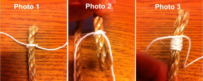 "Photo 1: Use waxed flax cord and tie an overhand knot about 3/4"" from the end of the rope.  Photo 2: Wrap the whipping cord around the back of the rope and tie another overhand knot  Photo 3: Repeat tying overhand knots, front and back, until the whipping is 1/4"" to 3/8"" long. The tie a square knot to finish the whipping"