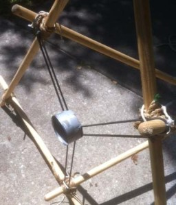 Ballista rigged with surgical tubing. (Notice the cord used to secure the tubing to the structure.