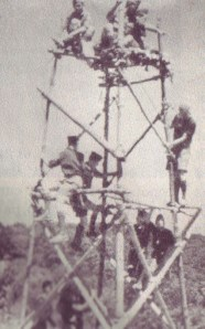 Tightening the Lashings on a 24' Signal Tower