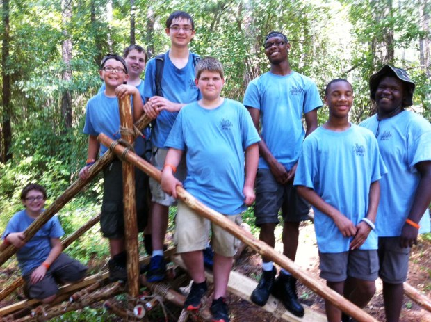 Summer Camp Pionneering Merit Badge Class: Single Trestle Bridge Over a Shallow Creek