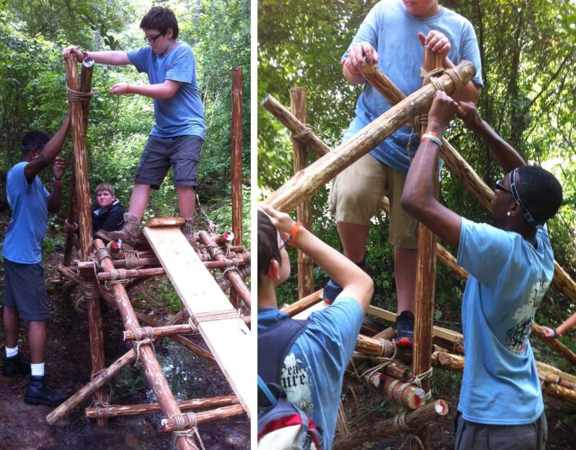 Lashing the First and the Third Handrails to the Trestle Legs