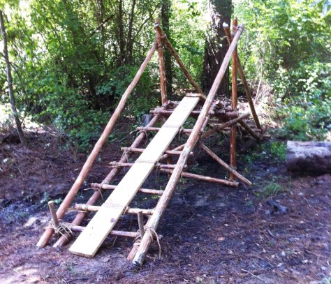Single Trestle Built Over a Shallow Creek at Camp Coker, Society Hill SC