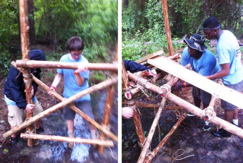 Positioning the Trestle / Lashing the Walkway Underpars to the Trestle Transom