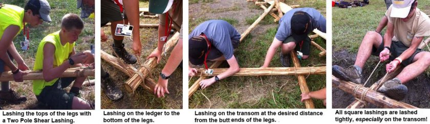 Lashing the top of the legs with a two pole shear lashing. Lashing on the ledger to the bottom of the legs. Lashing on the transom at the desired distance from the butt ends of the legs. All square lashings are lashed tightly, especially on the transom.