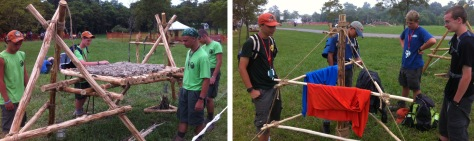 Scouts check out the Chippewa Kitchen and Camp Clothes Drying Rack