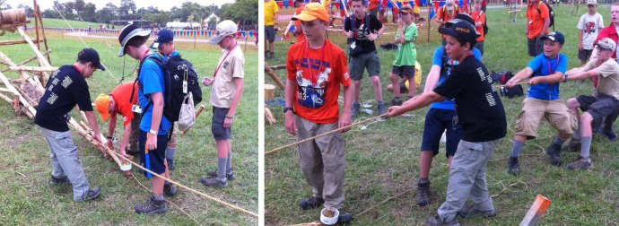 Scouts load the smaller, counter-weighted catapult and launch their shot by pulling together to snap the arm up.