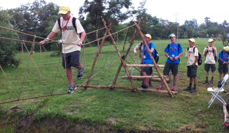 Crossing the Monkey Bridge in the Pioneering Area of the 2013 National Jamboree