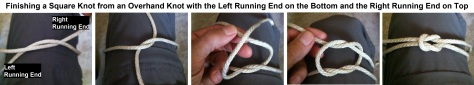 Finishing a Square Knot from an Overhand Knot with the Left Running End on Top and the Right Running End on the Bottom