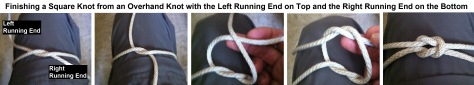 Finishing a Square Knot from an Overhand Knot with the Left Running End on the Bottom and the Right Running End on Top