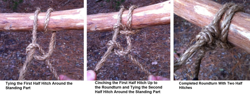 Tying the first half hitch around the standing part, cinching the first half hitch up to the roundturn and tying the second half hitch around the standing part, you get a completed roundturn with two half hitches.