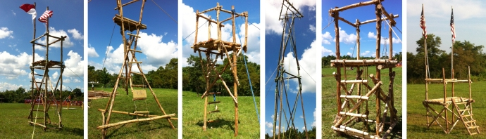 """From left to right: 14' Double Ladder Signal Tower, Hourglass Tower, Stilt Tower, AT&T """"Signal"""" Tower, 4'X4'x6' Climbing Tower, 6'x6'x5' Climbing Tower"""