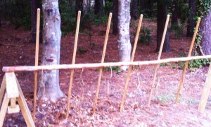 SImple Lashing Pole. Note that the vertical spars are behind the crossing spar.