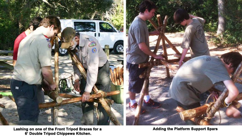 Lashing on one of the Front Tripod Braces for a 6' Double Tripod Chippewa Kitchen and Adding the Platform Support Spars.