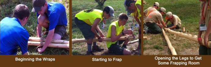 Scouts Lash the Tops of Their Sheer Legs with a Two-Spar Shear Lashing to Begin Their Single A-Frame Bridges