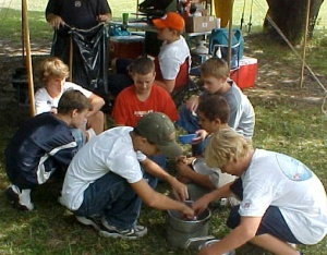 A Scout Patrol Using a Ground Level Dish Washing Assembly Line