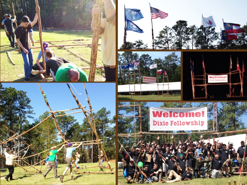 Building and Hoisting the Gateway / Flags Flying / Gateway During the Day and Illuminated at Night / Tomo Chi Chi Lodge Photo