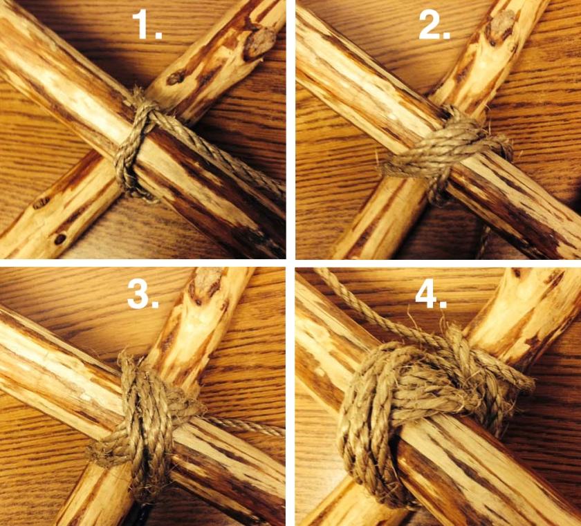 Four Basic Steps to Tying a Traditional Diagonal Lashing