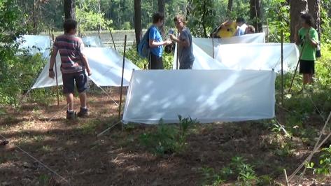 A Plastic Sheet Shelter Campsite